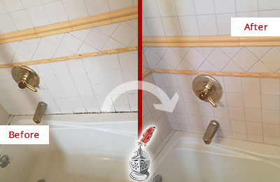 Picture of a White and Gold Bath Tub with Mold and Mildew in the Joints Before and After our Tub Recaulking