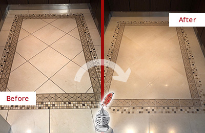 Before and After Picture of a Building Elevator Floor Restoration