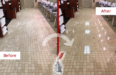 Picture of a Hotel Restroom Before and After Floor Restoration