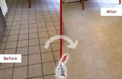 Before And After Picture Of A Dirty Kitchen Tile Floor Cleaned Sealed For Extra Protection